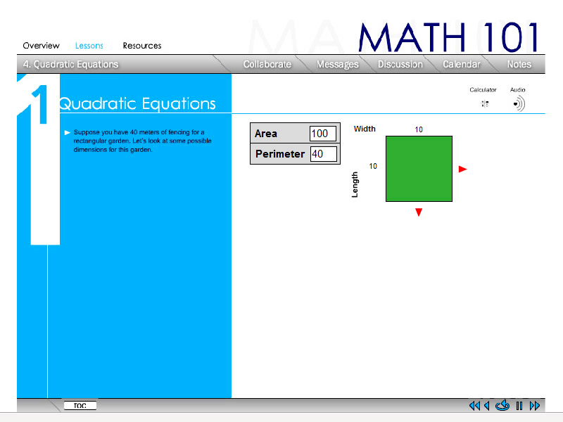 Quadratic Equations Web-Based Training Module