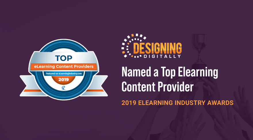 Designing Digitally, Inc. Selected as a Top 10 eLearning Development Company for 2019 by Elearning Industry for the Seventh Year in a Row