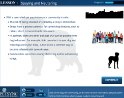 PETSYNC - Lesson: Spaying and Neutering Lesson Screen
