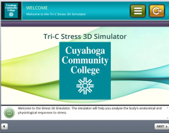 Tri-C 3D Stress Simulation Training - Welcome Screen
