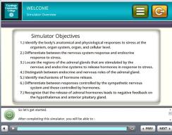 Tri-C 3D Stress Simulation Training - Objectives Screen