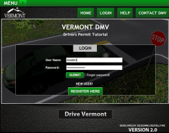 Drive Vermont - Welcome screen