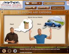 Wyoming Housing Network - Level  1: Income and Expenses Screen