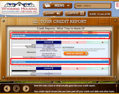 Wyoming Housing Network - Level 2: Your Credit Report Screen