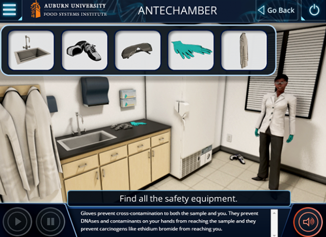 Auburn University: PCR Standard Simulation - Antechamer: Find all the Safety Equipment