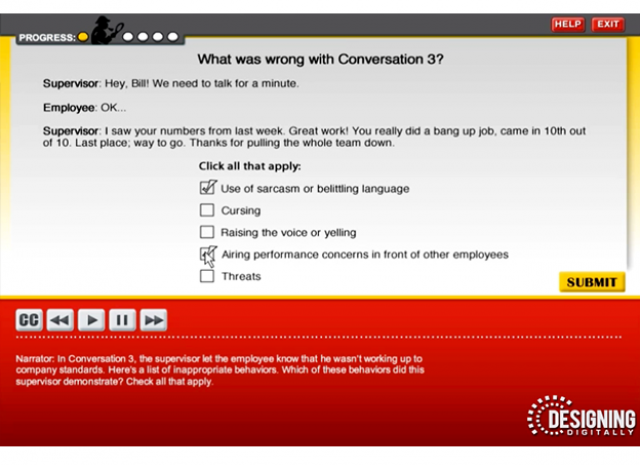 Culture of Civility and Respect - Conversation 3 Knowledge Check Screen