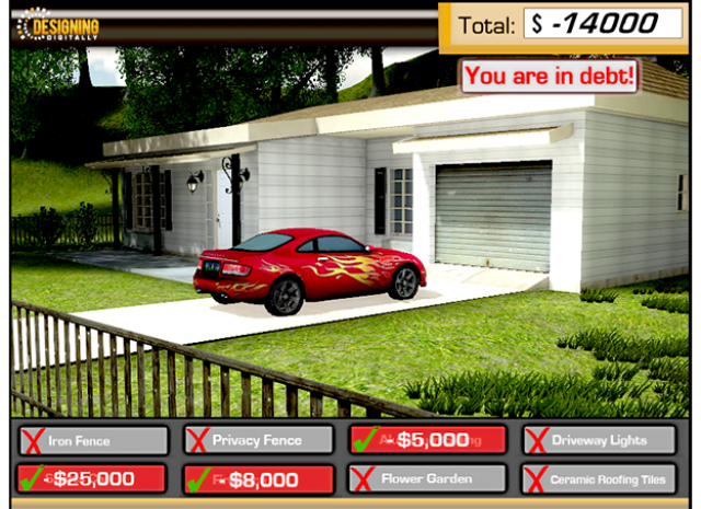 Debt Driven America - Financial Education Simulation - View of House with Car in Driveway