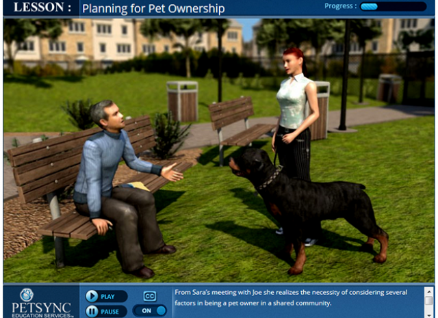 PETSYNC - Lesson: Planning for Pet Ownership Lesson Screen
