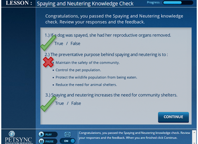 PETSYNC - Lesson: Spaying and Neutering Knowledge Check Screen