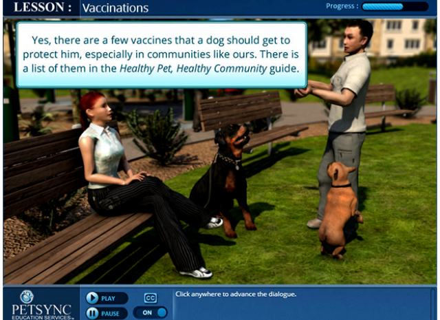 PETSYNC - Lesson: Vaccinations Introduction Screen