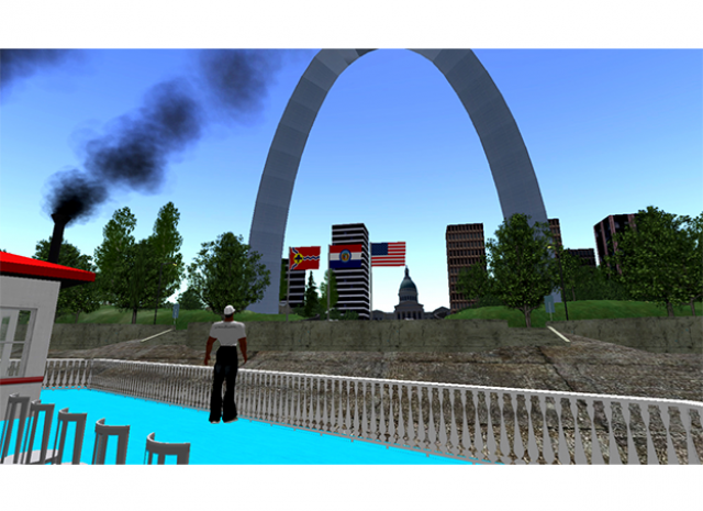 St. Louis Arch Virtual World - Ferry overlooking Arch