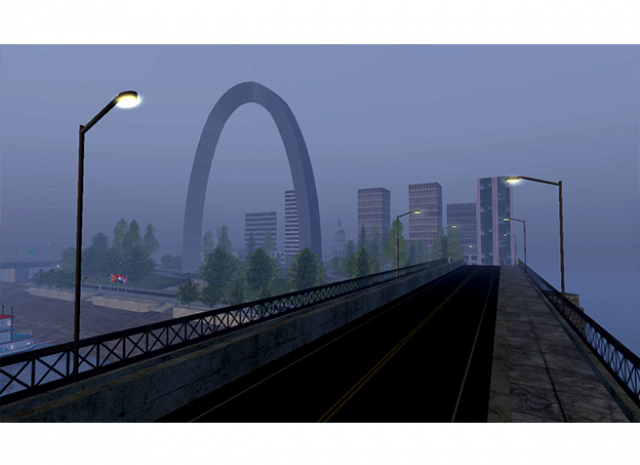 St. Louis Arch Virtual World - Nighttime shot of Arch and the City