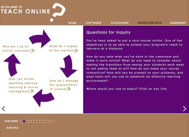 So You Wanna Teach Online? - Questions for Inquiry Screen