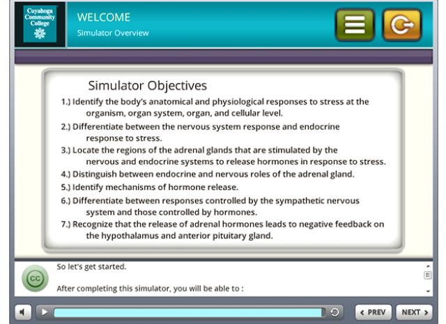 Tri-C 3D Stress Simulation Training - Objectives Screen