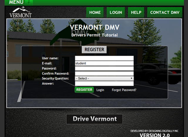 Drive Vermont - Register Screen