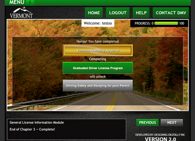 Drive Vermont - Progress Screen