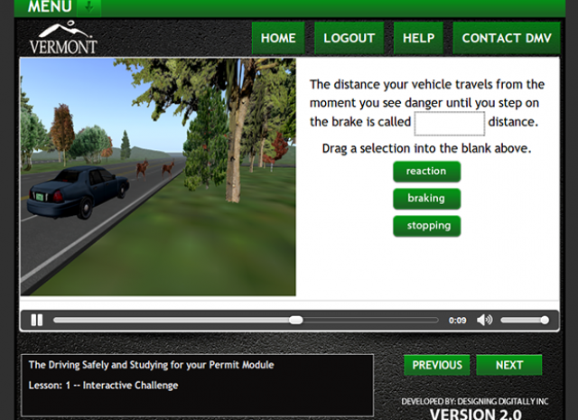 Drive Vermont - Lesson: 1 Interactive Challenge Screen