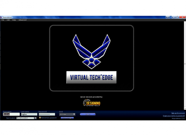 Wright Patterson Air Force Base (Tec^Edge) Virtual World Grid - Start Screen