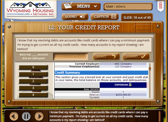 Wyoming Housing Network - Level 2: Your Credit Report Question Screen