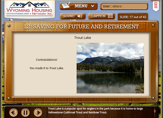 Wyoming Housing Network - Level 2: Saving for Future and Retirement Screen