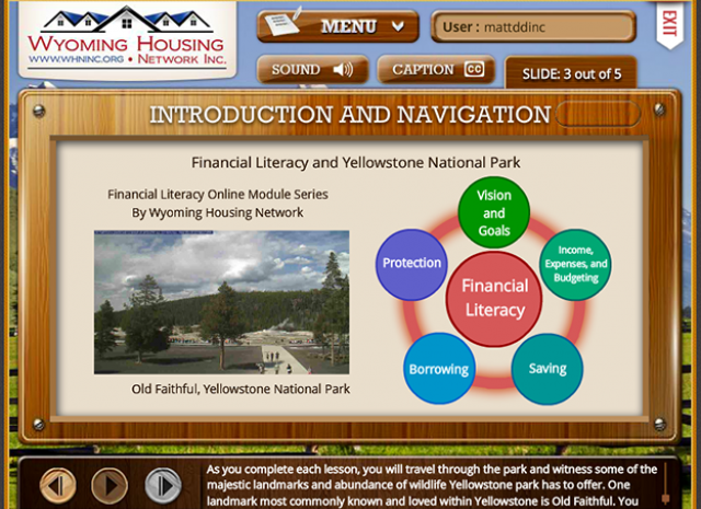 Wyoming Housing Network - Introduction and Navigation Screen
