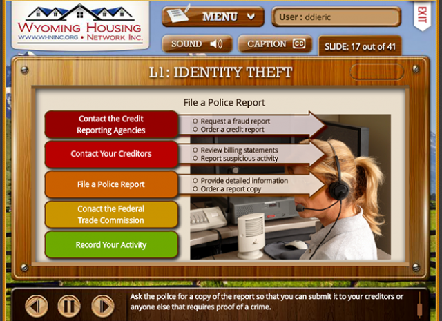 Wyoming Housing Network - Level 1: Identity Theft Scenario Screen